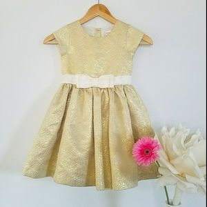 Gymboree Girl's Gold Party Dress with Cream Bow